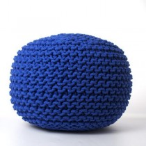 Decorative Blue Round Pouf