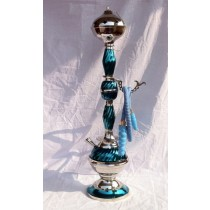 Decorative Blue Wave Design Nickel Finish Hookah