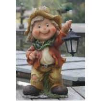 Decorative Boy Holding Garden Lamp