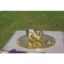 Decorative Brass Feline Garden Sundial