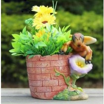 Decorative Bricks Design Polyresin Planter With Bee