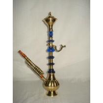 Decorative Carved Golden Brass & Acrylic Hookah