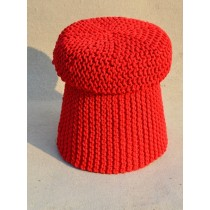 Decorative Cotton Knitted Cover Red Wooden Pouf