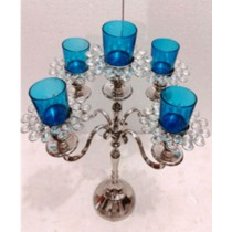 Decorative Crystal 5 Arm Blue Glass Votives Candelabras