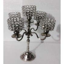 Decorative Crystal Bead 5 Arm T-Light Candle Stand(27 X 27 X 48 CM)