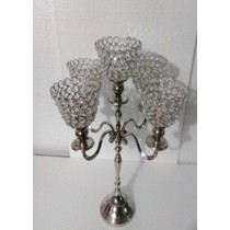 Decorative Crystal Round 5 Arm T-Light Candle Stand(30 X 30 X 48 Cm)