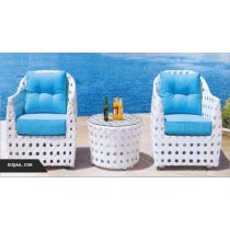 Decorative Cutout Wicker White Sofa Set(2 chair + 1 table)