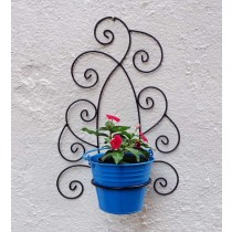 Decorative Design Wall Bracket with Blue Bucket Planter