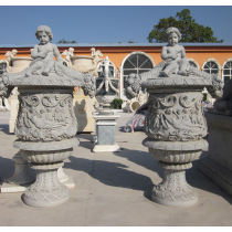 Antique With Angel Design Stone Planters