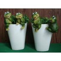 Decorative Frog White Polyresin  Planter