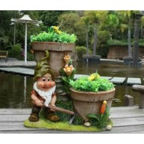 Decorative Gnome Two Garden Planter(42.2 X 26.5 X 39.2 CM)