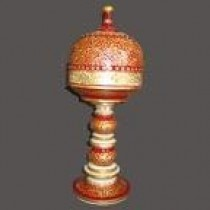 Decorative Golden With Maroon Table Lamp