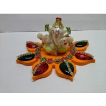 Decorative Kundan Design Ganesh Idol