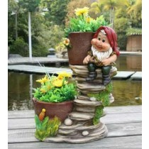 Decorative Large Two Planter With Gnome