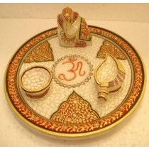 Decorative Marble Puja Tray With Meenakari Work