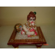 Decorative marble Short Stool With Krishna Statue