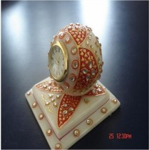 Decorative Marble Watch Red Flower Design
