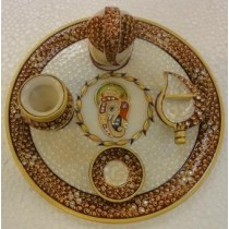 Decorative Marble White & Maroon Puja Tray