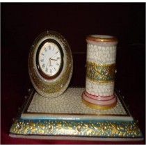 Decorative Marble With Gold Work Pen Stand With Watch