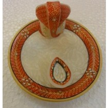 Decorative Marble With Red Paint Puja Tray