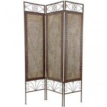 Decorative Metal 3-Panel Folding Screen