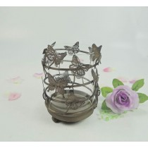 Decorative Metal & Glass Butterfly Candle  Holder