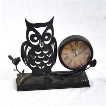 Decorative Metal Owl  Table Desk Clock