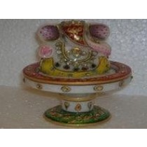 Decorative Multicolored Ganesha On Pedestal Base
