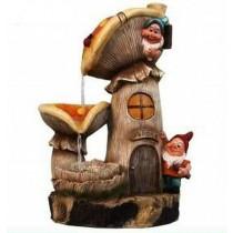 Decorative Mushroom Gnome Sculptural Fountain