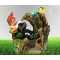Decorative New Gnome With Bird Water Fountain
