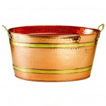 Decorative Oval Copper Party Tub With Two Handles
