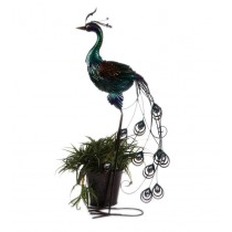 Decorative 6 Inch Peacock Metal Planter
