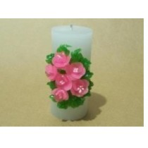 Decorative Pink Flower Design Pillar Candle