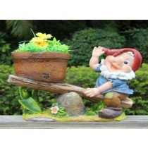 Decorative Polyresin Gnome Sea Saw Planter