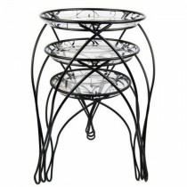 Decorative Printed Pattern Metal Plant Stand Set of 3 Pcs