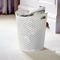 Decorative Rattan White Bin