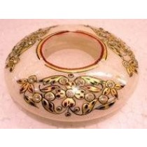 Decorative Round Marble Ash Tray With Gold Work