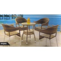 Decorative Shaded Wicker Lounge Seating Set(4 Chair + 1 Table)
