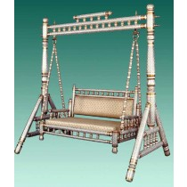 Decorative Silver Teak Wood Garden Swing