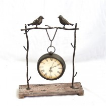 Decorative Table Top Metal Bird Clock