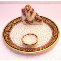 Decorative Traditional With Ganesha & Diya Puja Tray
