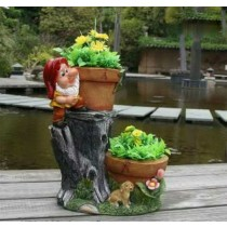 Decorative Two Flower Pot Gnome Sculpture