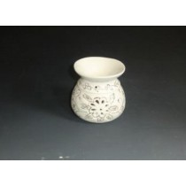 Decorative White Ceramic Golden Line Design Oil Burner