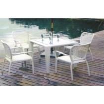 """Decorative White Garden Rattan Dinning Set (48"""" x 24"""")"""