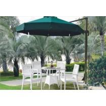 Decorative White Garden Rattan Dinning Set With Umbrella