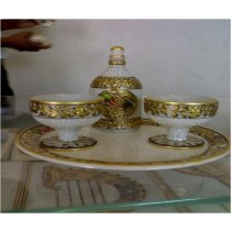 Decorative White Marble Small Bar Set