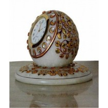 Decorative White Marble Watch With Gold Work