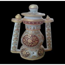 Decorative White & Maroon  Marble Lantern