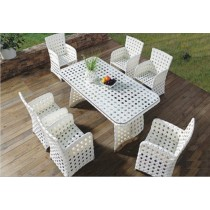 Decorative White Model Style Garden Dinning Set(6+1  Set)