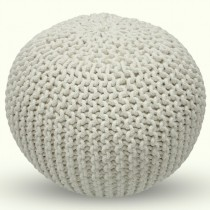 Decorative White Round Pouf